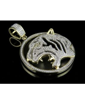 10K Yellow Gold Genuine Diamond Tiger Medallion Pendant 1.35 ct 1.75""
