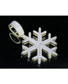 10K Yellow Gold Real Diamond Snowflake Pendant 0.33 CT 1.25""