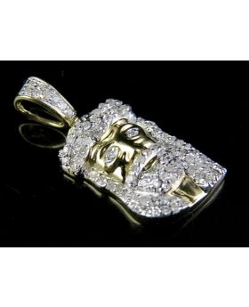 "10K Yellow Gold Jesus Face Piece 1""  Inch Diamond Pendant  1/3 CT"