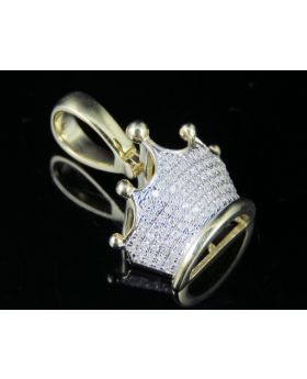 Men's 10K Yellow Gold Diamond Tiara Crown Pendant Charm 1/4Ct 0.9""