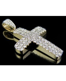 14K Yellow Gold Puff Style Genuine Diamond 1.5 Inches 3 Row Cross Pendant 6/7 ct