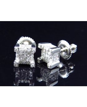 3D Prong Cube Earrings in White Gold Finish 6mm (0.75 ct)