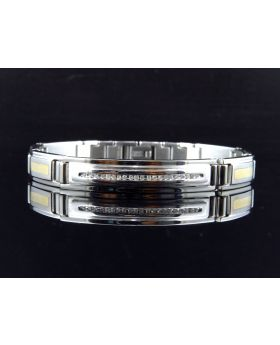Radar Style Stainless Steel Bracelet with Double Tone Links (0.20 ct)