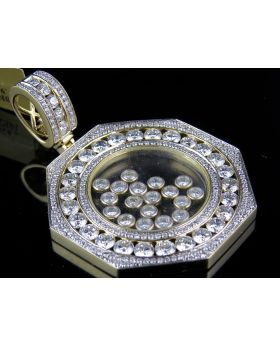 Solid Gold Floating Diamond Pendant with Channel Set Bezel (7.92 Ct)