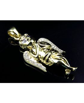 Solid 3D Guardian Angel Pendant in 10k Yellow Gold (0.15 Ct)