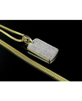 "10K Yellow Gold Mens Iced Out Dogtag Genuine Diamond Pendant 0.75ct 1.2"" with 10K Franco Chain 1mm"