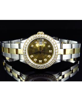 Rolex Datejust 18k 2 Tone Oyster Band Diamond Watch (2.5 ct)