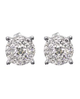 Illusion Set earrings in White Gold (1.15 ct)