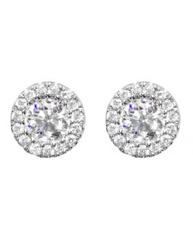 Solitaire Earrings With Jackets in White Gold (0.75 ct)