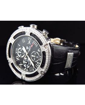 Aqua Master W#346 El Russo Black Leather Diamond Watch 46 MM (5.35 Ct)