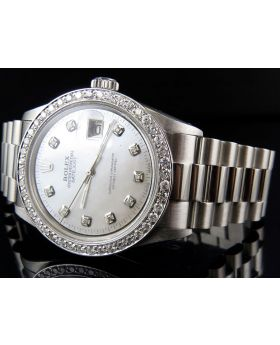Mens Rolex Date Just 36MM Oyster Perpetual Diamond Watch with Presidential Band (2.5 ct)