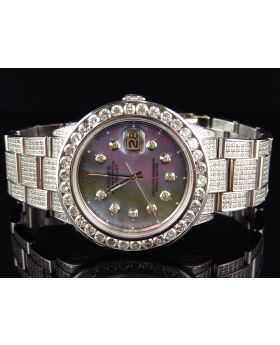 Rolex Datejust Oyster Stainless Steel with MOP Dial Diamond Watch (12.0 Ct)