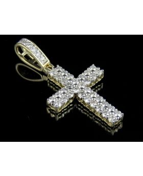 14K Yellow Gold Two Row Ankh Cross Real Diamond Pendant 1.0ct