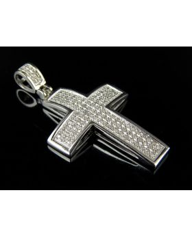 10K White Gold Dome Cross Diamond 1.5 Inch Pendant Charm 0.50 ct.