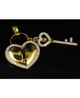 Heart and Key Diamond Pendant in 10k Yellow Gold (1.75 ct)