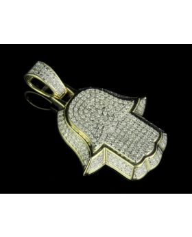 10K Yellow Gold Real Diamond Hamsa 3D Pendant Charm 0.60 CT 1.5""