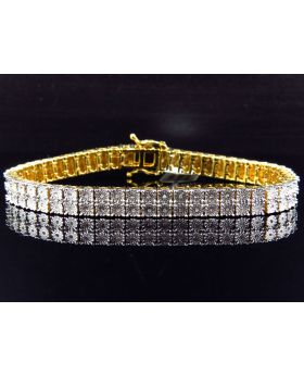 2 Row Diamond 8 Inch Bracelet Finished in Yellow Gold