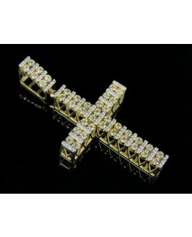 10k Yellow Gold Real Diamond Designer Cross Pendant 0.60 CT 1.75""