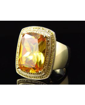 Men's Yellow Gold Royal Topaz Gemstone Center Canary Diamond Ring (0.50ct)