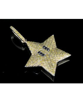 10K Yellow Gold Real Canary Diamond Mario Star Pendant 2/5 CT 1.1""