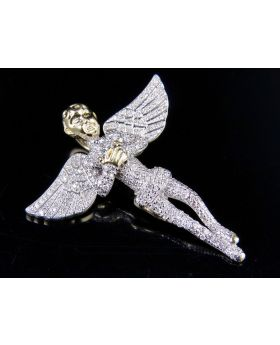 Mens 10K Yellow Gold Genuine Diamond Iced Angel Pendant 1Ct 1.5""