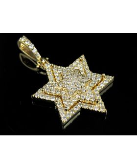 Yellow Gold Stacked Iced Out Star Of David VS Diamond Pendant 3ct 1.75""