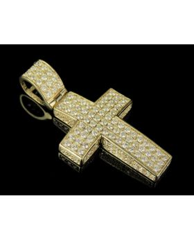 10K Yellow Gold Real Diamond Block Cross Pendant 1.80 CT 1.5""