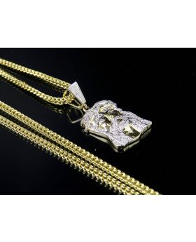 "10K Yellow Gold Jesus Face Piece 1.4"" Diamond Pendant Chain Set .40ct"