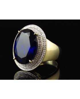 Men's Yellow Gold Sapphire Gemstone Diamond Statement Ring (0.50ct)