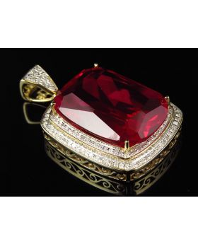 Yellow Gold Royal Ruby Gemstone Diamond Pendant 1.5 inch (1.20ct)