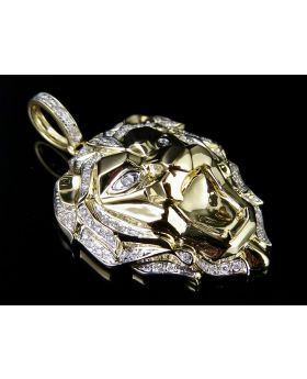 14K Yellow Gold 3D Roaring Lion Face Real Diamond Charm Pendant 1/3 Ct 1.6""