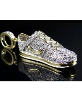 """Men's 10K Solid Yellow Gold Diamond Air force One Shoe Pendant 1.35 ct 2"""""""