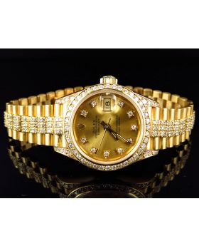 18k Ladies Yellow Gold Rolex Presidential Datejust with 8.5 Ct Bezel