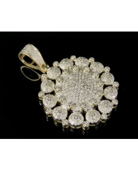 10K Yellow Gold Real Diamond Cluster Medallion Pendant 1.50 CT 1.5""