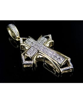 Men's 10K Yellow Gold Cross Genuine Diamond 1.75 Inch Pendant Charm 1/3 ct