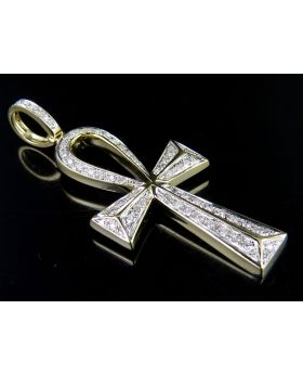 10K Yellow Gold Egyptian Ankh Cross Real Diamond 2 Inch Pendant Charm 1/2 Ct