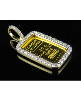 24K Yellow Gold Fine Gold 2.5 G .9999 Credit Suisse Diamond Pendant 1.5ct