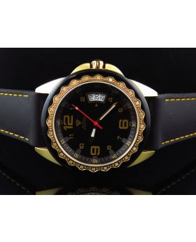 Mens Aqua Master Black Gold Finish 2 Tone Diamond Watch 0.25 Ct