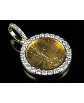 22K Solid Yellow Gold Coin Lady Liberty 1/10th Ounce Diamond Pendant Charm 1.20ct