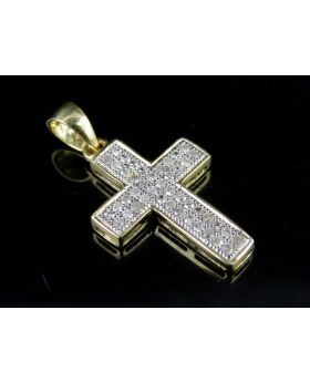 10K Yellow Gold Cross Two Row Genuine Diamond 0.75 Inch Pendant Charm 1/8 Ct