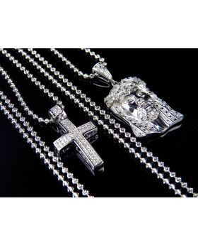 Jesus Pendant and Diamond Cross Pendant Set with Chain in White Gold Finish
