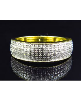 10K Yellow Gold 4 Row Diamond Mens Band (0.45 ct)