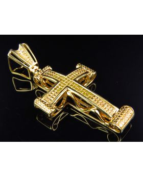 """Studded Canary Diamond Cross Finished In Yellow Gold 2"""" .50CT"""