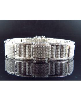 Solid 10K White Gold Pave Set Genuine Diamond Bracelet 6.95 ct, 8.70 Inch