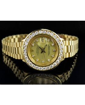 18K Ladies Yellow Gold Rolex 69178 Presidential Datejust with 3.5 Ct Diamond