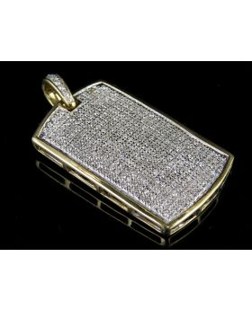 10K Yellow Gold Mens Iced Out Dogtag Genuine Diamond Pendant Charm 1.0 Ct 1.45""