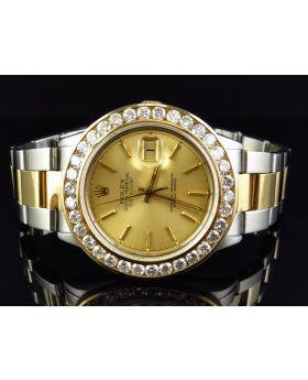 Rolex Datejust Oyster 18K Stainless Steel with Champagne Dial Diamond Watch (6 Ct)