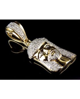 Men's Yellow Gold 3D Jesus Face Piece 1 Inch Diamond Pendant (0.35ct)