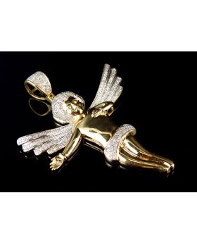 Men's Yellow Gold 3D Directing Angel 2 Inch Diamond Pendant (0.65ct)