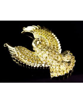Men's Yellow Gold 1.5 Inch Eagle Canary Diamond Pendant (1.12ct)